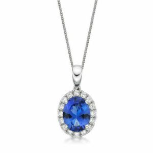 """Kate"" 1.76 Ct Tanzanite & Diamond Pendant"