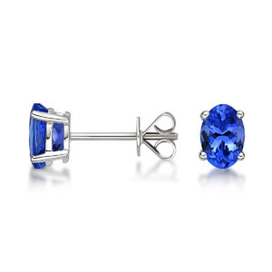 2.00 ct Tanzanite Stud Earrings 14K White Gold