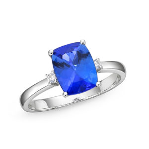 Cushion Shaped Tanzanite & Diamond Solitaire Ring 2.91 ct
