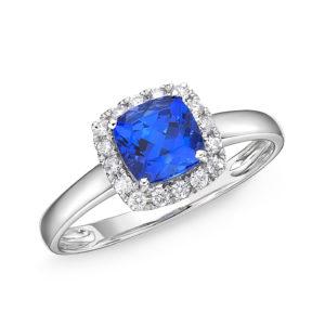 1.48 Carat Tanzanite Cushion Cut Diamond Halo Ring