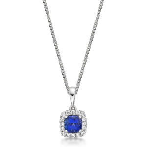 Diamond Halo Cushion Cut Tanzanite Pendant