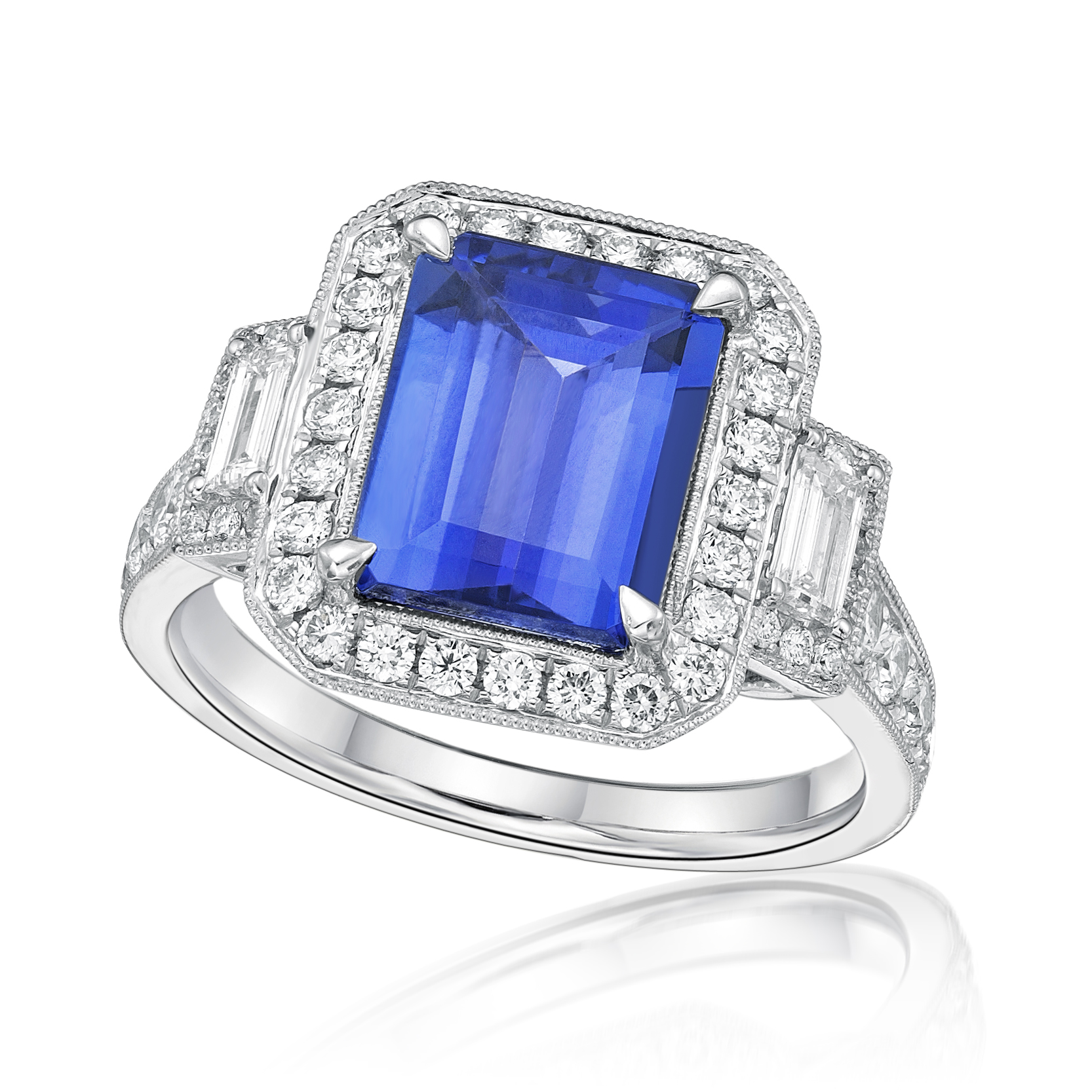 Exceptional Emerald Cut Tanzanite & Diamond Ring