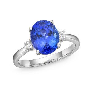 """1.76 Carat Tanzanite & Diamond """"Paris"""" Engagement Ring"""