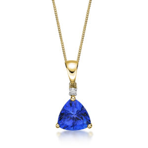 1.66 Carat Tanzanite Trillion & Diamond Pendant Yellow Gold