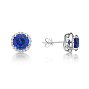 4.00 ct Premium Tanzanite & Diamond Halo Stud Earrings 14 K