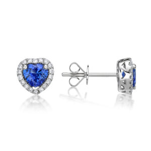 0.98ct Petit Tanzanite Heart Shaped Stud Earrings