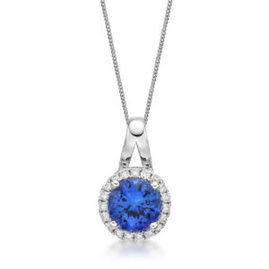 Tanzanite & Diamond Solitaire Slider Pendant