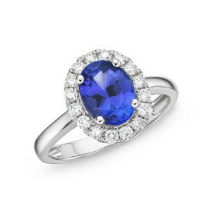 "Oval "" Kate"" Tanzanite & Diamond Halo Ring,"