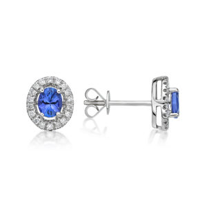 0.60 ct Petit Oval Tanzanite Halo Earrings