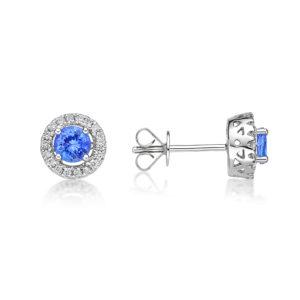 0.60 Ct Petit Round Tanzanite & Diamond Halo Earrings
