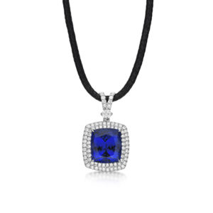 Exceptional 13.61 Carat Tanzanite & Diamond Pendant