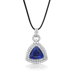 12.97 Carat Exceptional Trillion Tanzanite & Diamond Pendant
