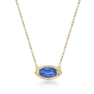 1.06 Ct Marquise Cut Tazanite & Diamond Necklace
