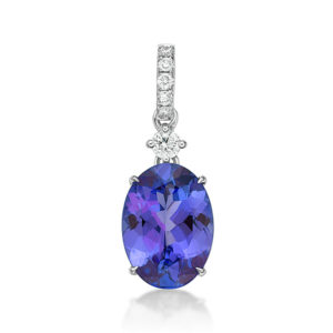 Exceptional 3.76 Oval Tanzanite & Diamond Pendant