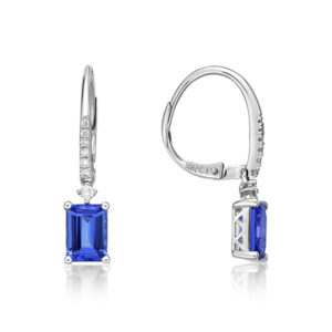 "2.00 Ct Tanzanite "" Emerald Cut"" Drop Earrings"
