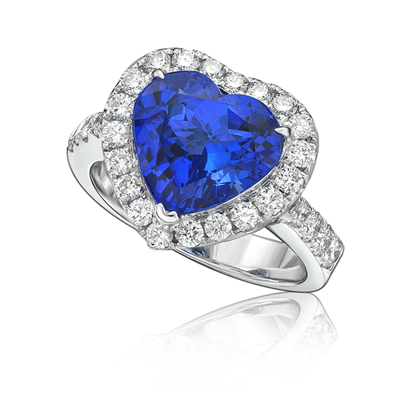 Exceptional 4.56 Ct Heart Shaped Tanzanite & Diamond Ring