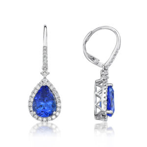 5.53 Ct Tanzanite Pear Shaped Drop Earrings with diamonds