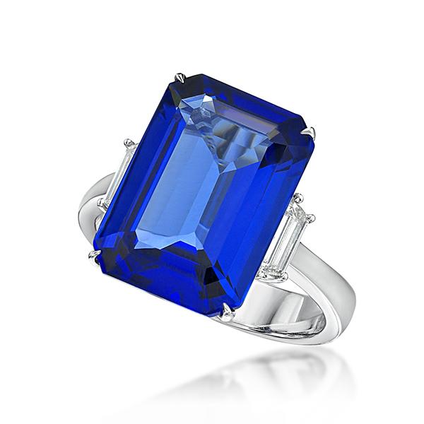 Exceptional 9.36 Ct Emerald Cut Tanzanite & Diamond Ring