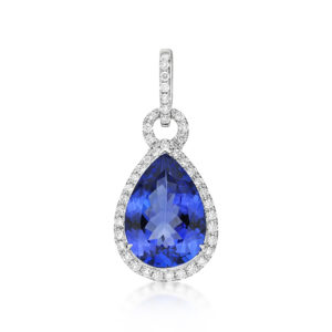 Exceptional 4.72 Ct Pear Shaped Tanzanite & Diamond Pendant