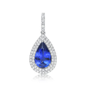 2.25 Ct Pear Shaped Tanzanite & Diamond Pendant