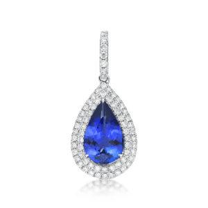 2.25 Ct Pear Shaped Tanzanite & Diamond Pendant
