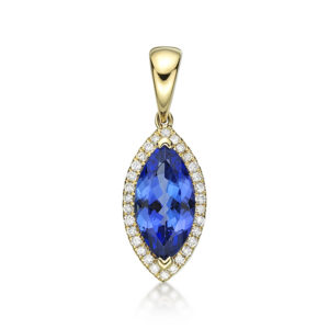 1.98 Ct Marquise Cut Tazanite & Diamond Pendant