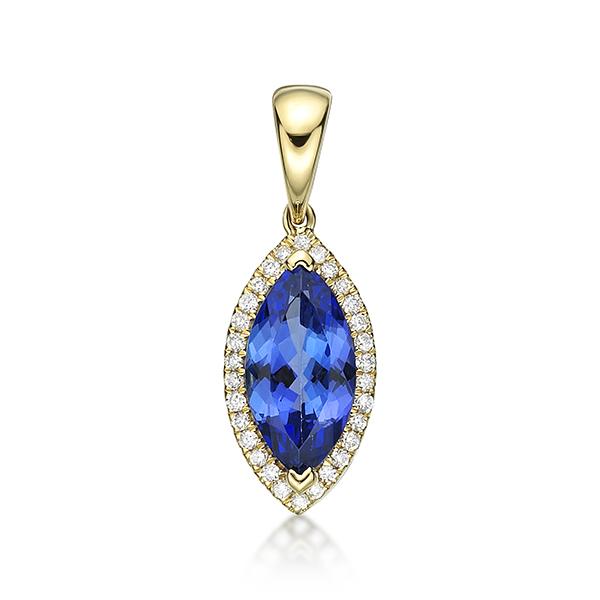 1.98 Ct Marquise Cut Tazanite & Diamond Pendant