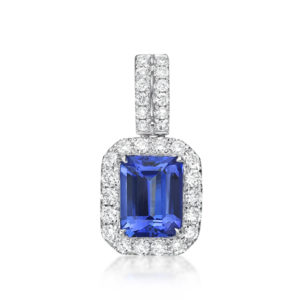 "Exceptional 2.23 Tanzanite ""Emerald Cut"" & Diamond Pendant"
