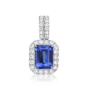 """Exceptional 2.23 Tanzanite """"Emerald Cut"""" & Diamond Pendant"""