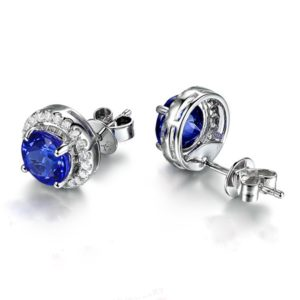 2.50 ct Tanzanite Round Diamond Halo Studs